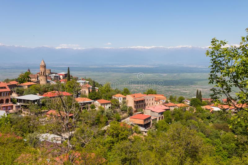 View on the Sighnaghi town and Caucasian mountains, Georgia. View on the Sighnaghi town and Caucasian mountains in Kakheti region, Georgia stock photo