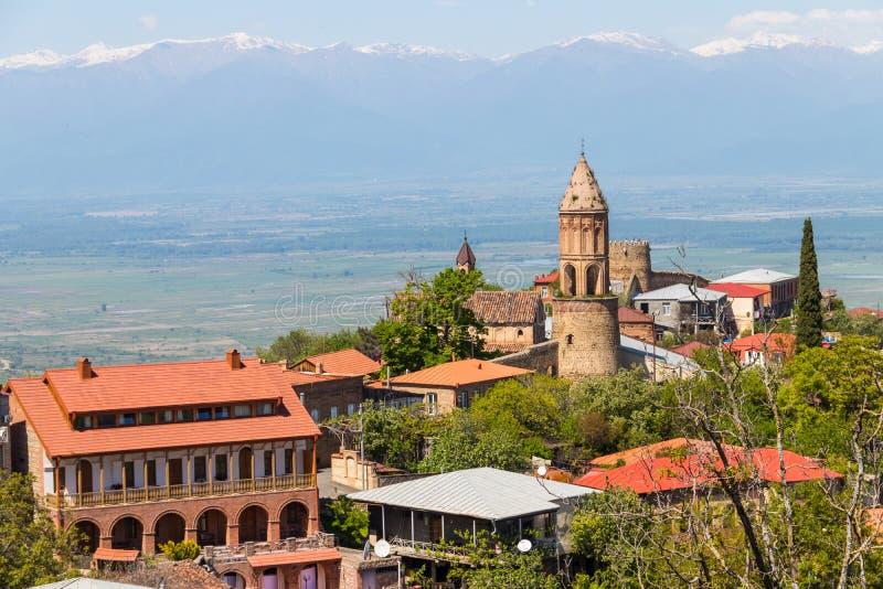 View on Sighnaghi town and Caucasian mountains, Georgia. View on the Sighnaghi town and Caucasian mountains in Kakheti region, Georgia stock photography