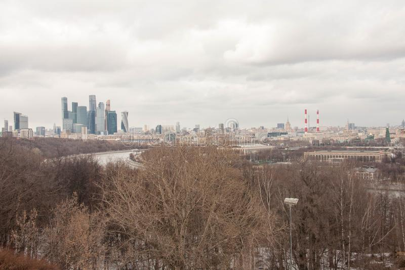 View on the sights of Moscow. At the beginning of spring stock images