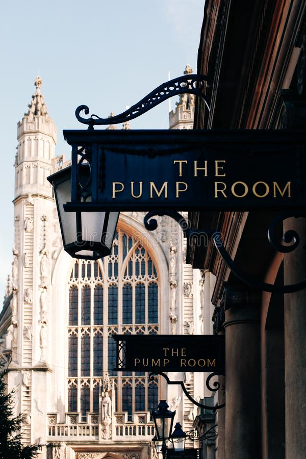 View of the sign at the entrance to the Pump Room, Bath, UK royalty free stock images
