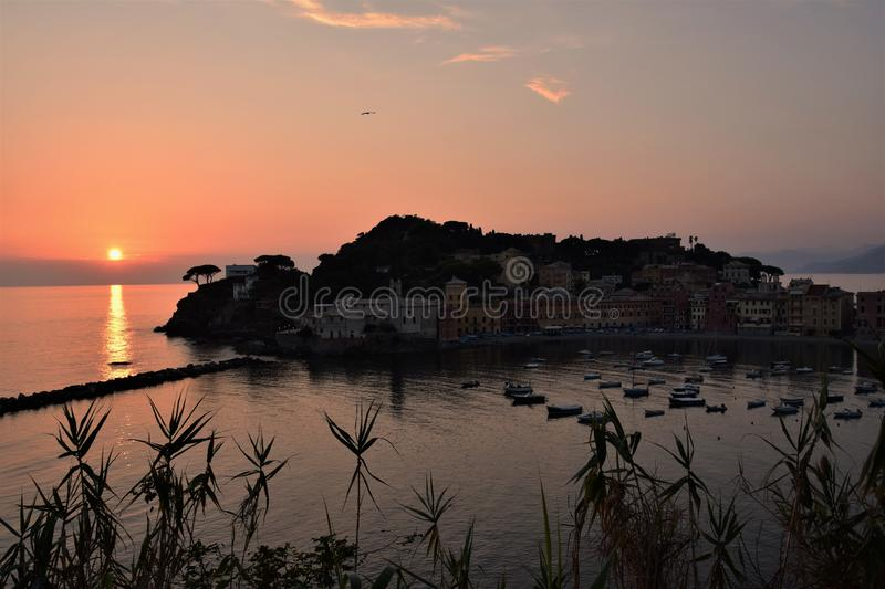 Sunset in `silence bay baia del silenzio` in Sestri Levante royalty free stock images