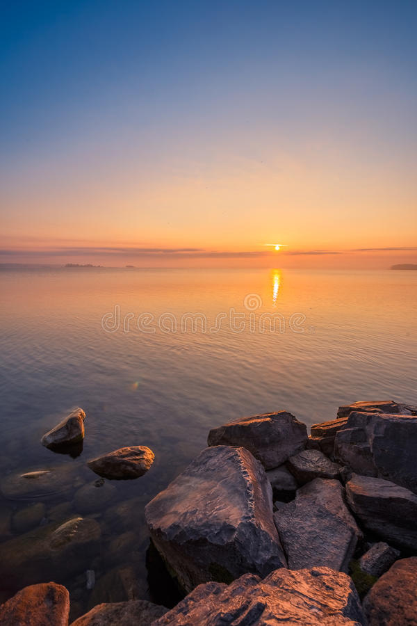 View of Simcoe lake during sunrise royalty free stock images