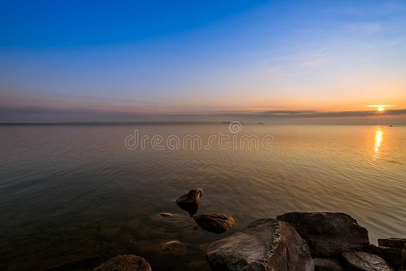 View of Simcoe lake during sunrise stock image