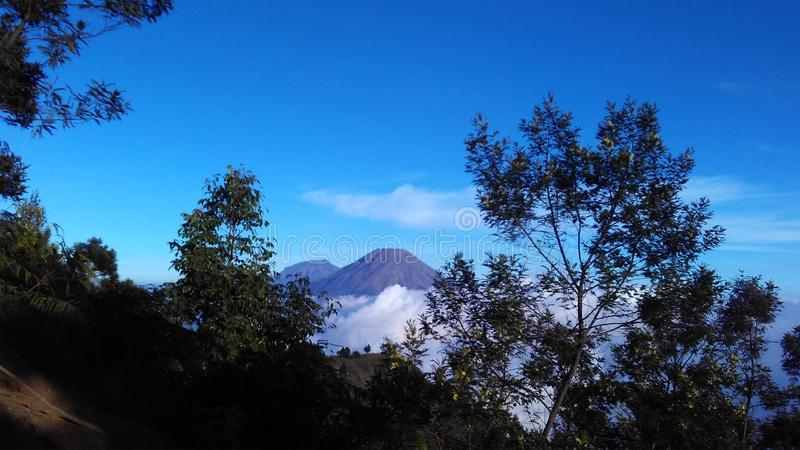 A view sindoro & sumbing mountain royalty free stock image