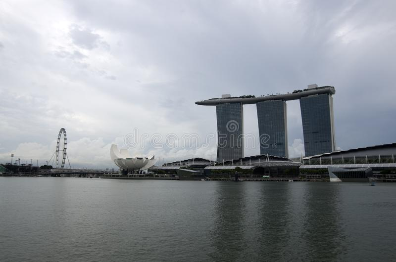 View of Singapore city. Marina Bay Sands and other landmarks of Singapore are popular sites in Singapore stock photography