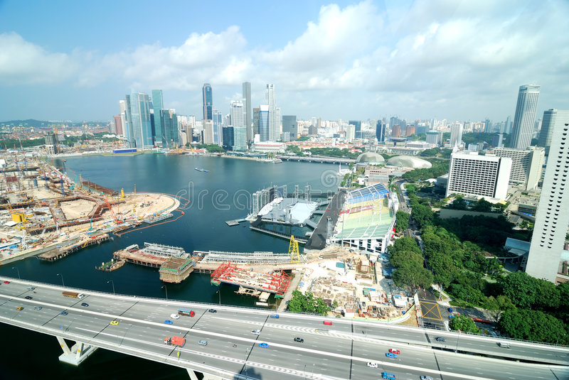 View from Singapore flyer. Largest wheel in the world royalty free stock photos