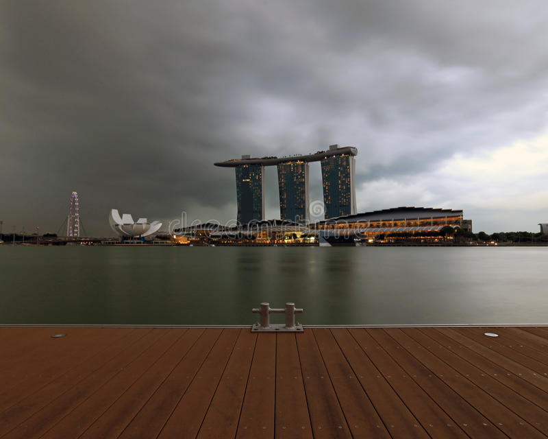 A view of the Singapore Marina Bay Signature Skyline across the deck royalty free stock photography