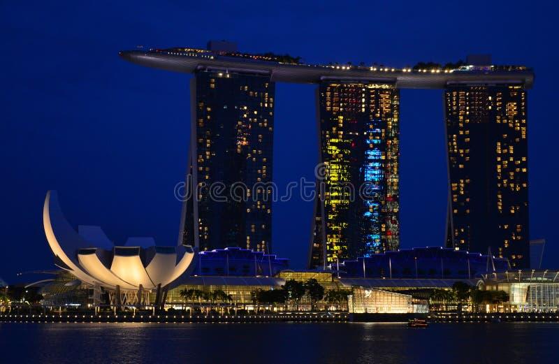 View of Singapore at night marina bay stock photos
