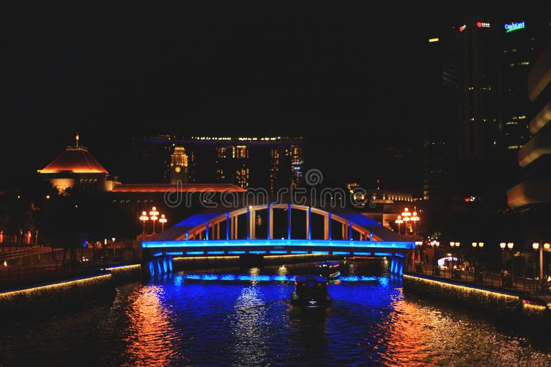 View of Singapore`s water transport at night stock images