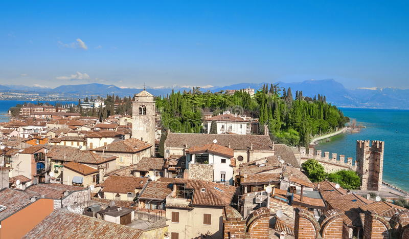 Sirmione, Garda Lake. View of Sirmione roof houses on Garda Lake, Italy royalty free stock photo
