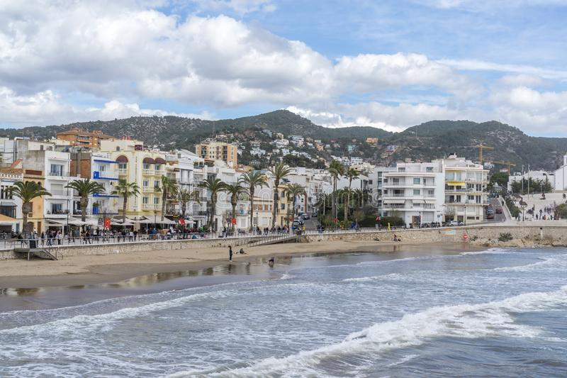 Sitges beach view royalty free stock photography