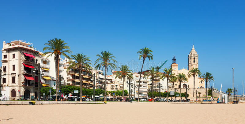 View of Sitges from beach stock photography