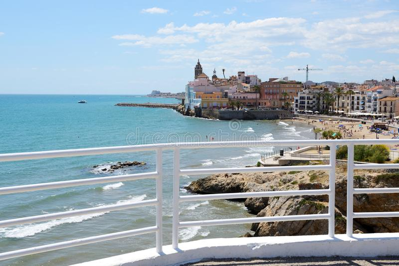 The view on Sitges town and beach stock image