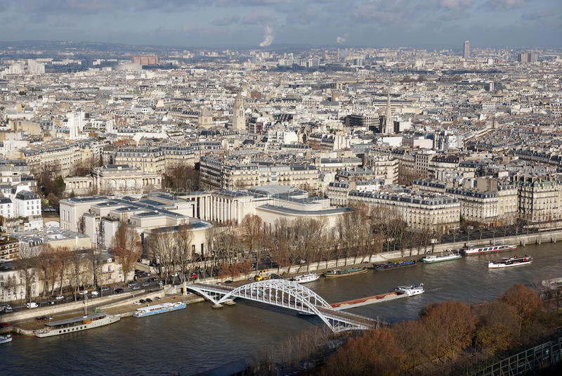 View of city Paris from Eiffel Tower stock images