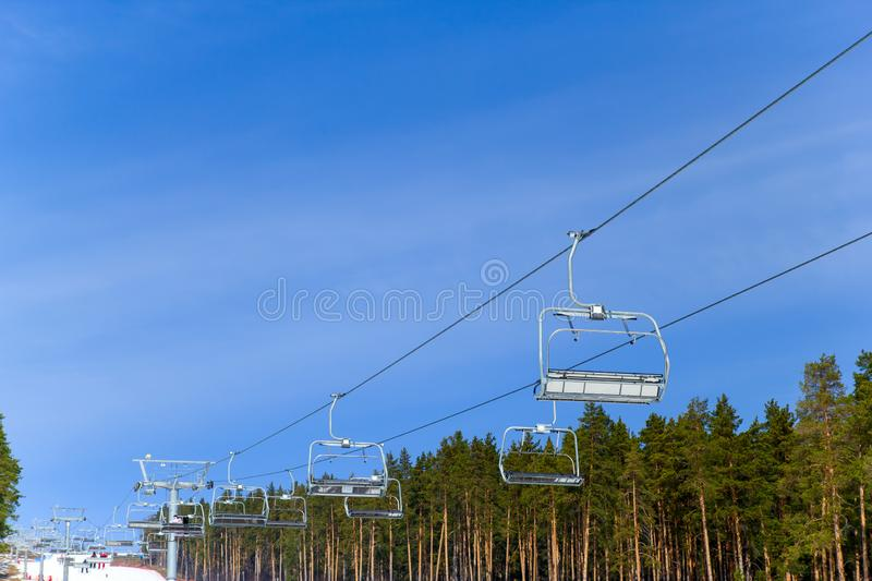 Ski lift   in the Ural mountains. View of the ski lift   in the Ural mountains stock photography
