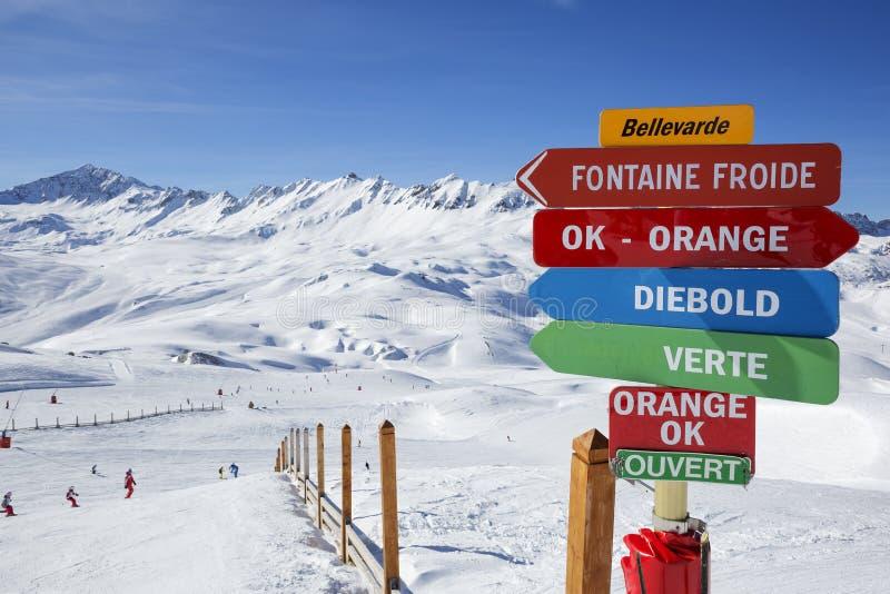 View of skiing area stock photos