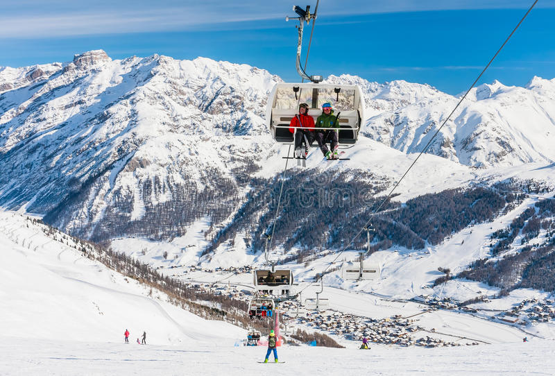 View of skiing resort in Alps. Livigno. Italy stock photography