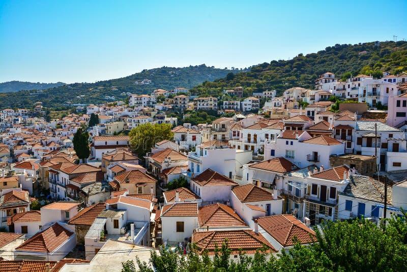 View on Skopelos town royalty free stock photo