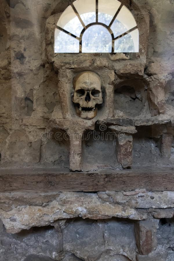 The Skull Tower Cele Kula- built from the 3000 skulls of dead Serbian warriors after Uprising in 1809 in City of Nis, Serbia. View of the Skull Tower Cele Kula stock images