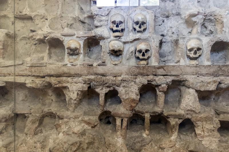 The Skull Tower Cele Kula- built from the 3000 skulls of dead Serbian warriors after Uprising in 1809 in City of Nis, Serbia. View of the Skull Tower Cele Kula stock photo