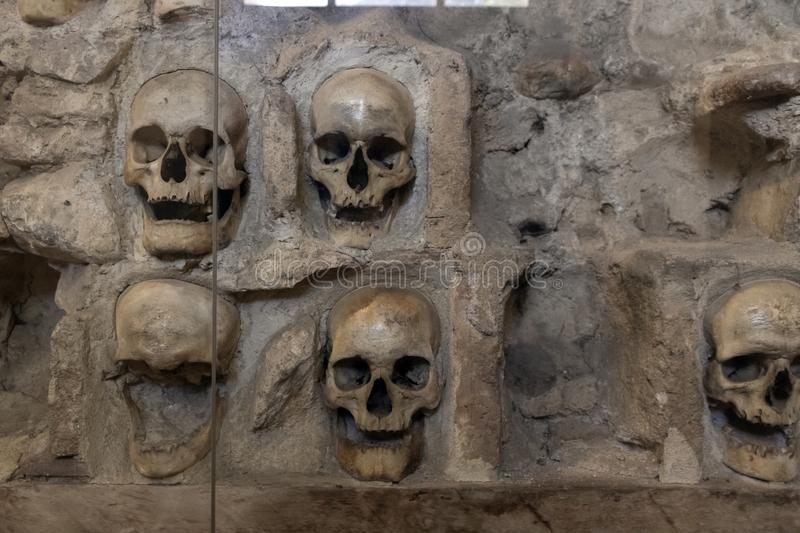 The Skull Tower Cele Kula- built from the 3000 skulls of dead Serbian warriors after Uprising in 1809 in City of Nis, Serbia. View of the Skull Tower Cele Kula royalty free stock photo