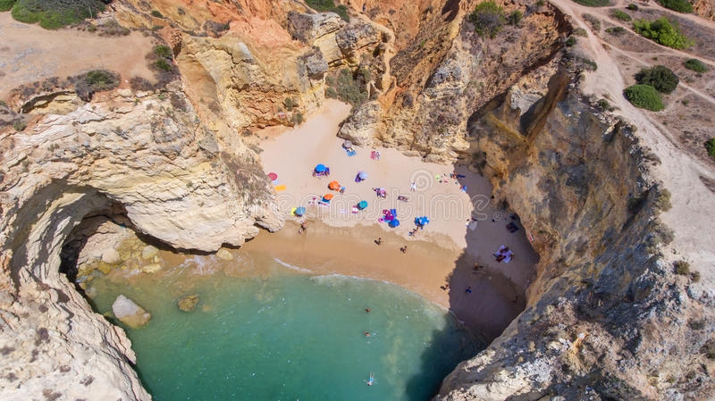 Aerial. View from the sky of the beach: Joao de Arens Portimao. royalty free stock photos