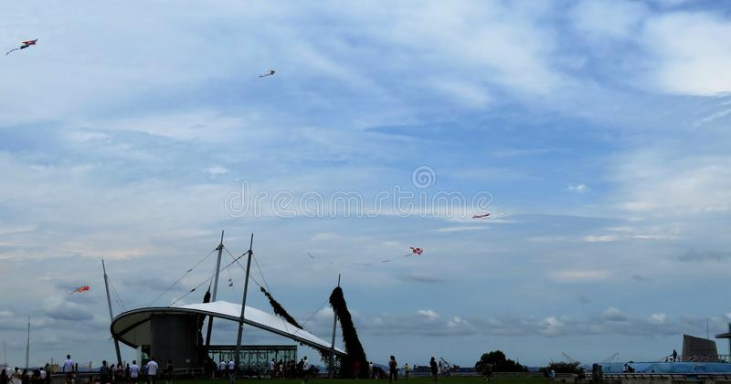 View of sky and buildings and kites royalty free stock images