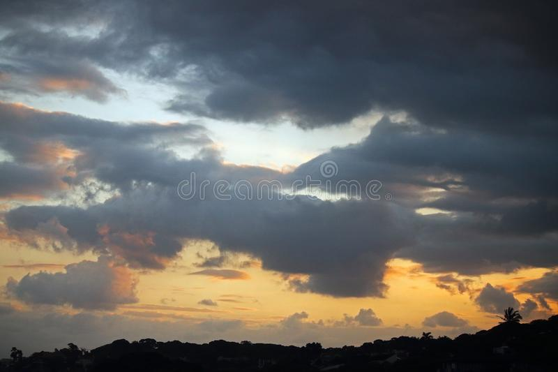 DELICATE SUNSET IN COASTAL AREA stock images
