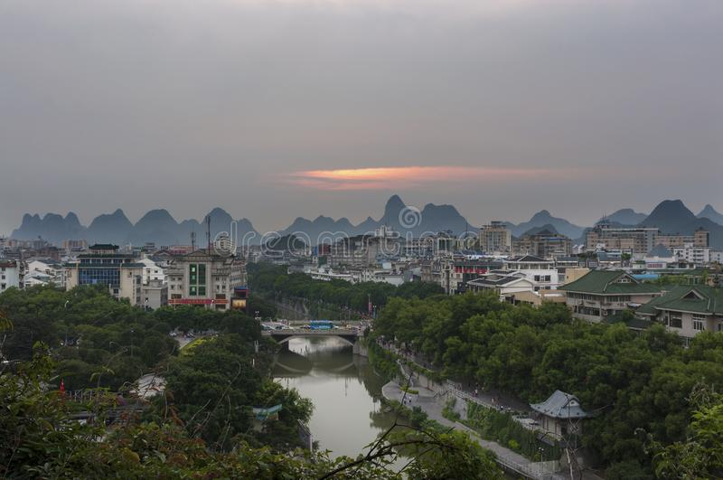 View Of The Skyline Of The City Of Guilin With The Famous ...