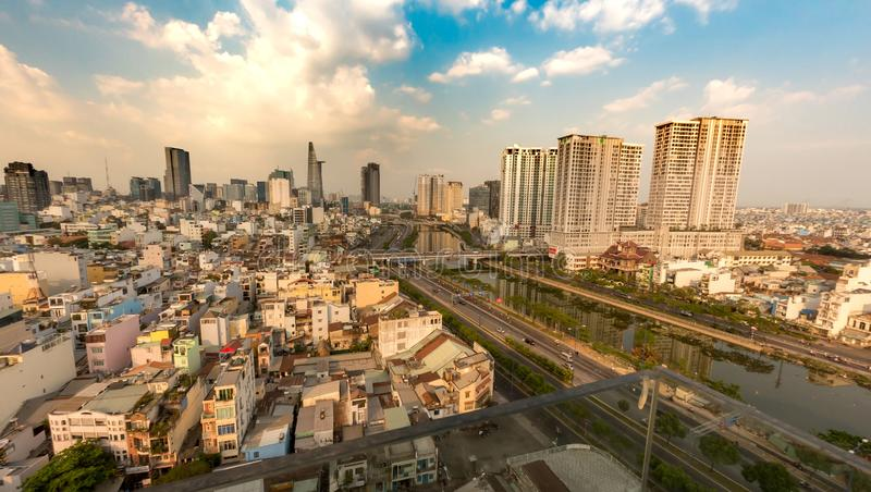 View of the skyline of Ho Chi Minh City during the day stock photography