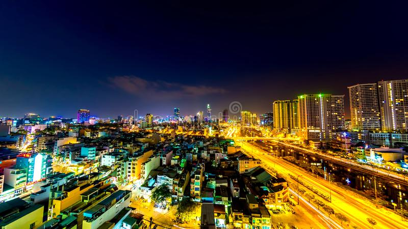View on the skyline of Ho Chi Minh City at night royalty free stock photography