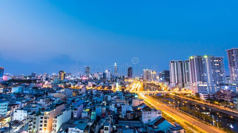 View of the skyline of Ho Chi Minh City during sunset royalty free stock image