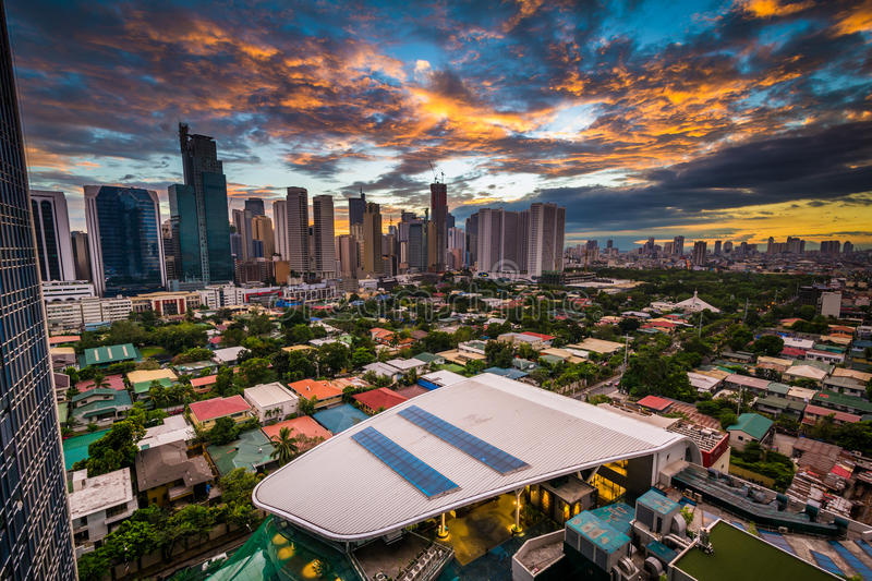 View of the skyline of Makati at sunset, in Metro Manila, The Ph stock photography
