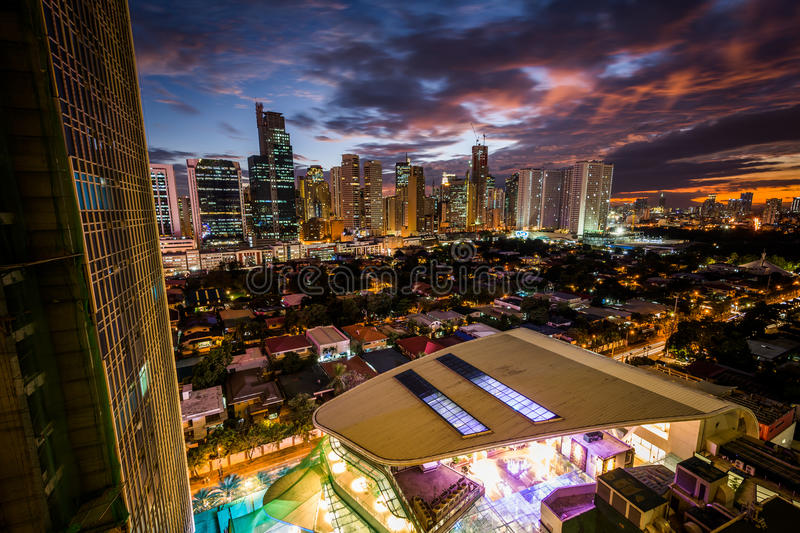 View of the skyline of Makati at sunset, in Metro Manila, The Ph. Ilippines stock photos