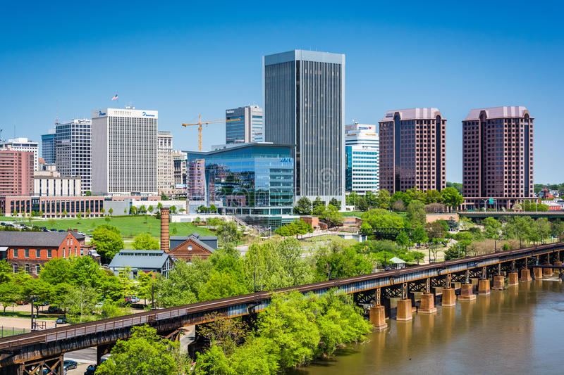 View of the skyline in Richmond, Virginia. stock images