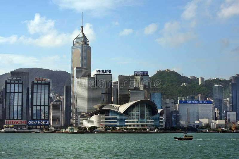View of skyscrapers from Victoria Harbor, Hong Kong. HONG KONG - September 25: view of skyscrapers, modern office buildings and shopping centers from Victoria stock photo