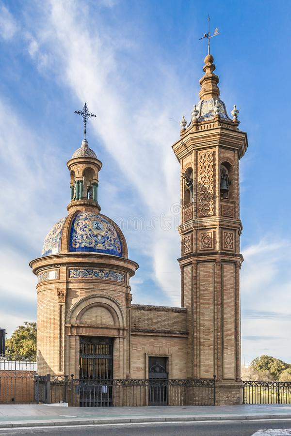 View of a small church with its dome with colorful tiles with an incredible decoration stock images
