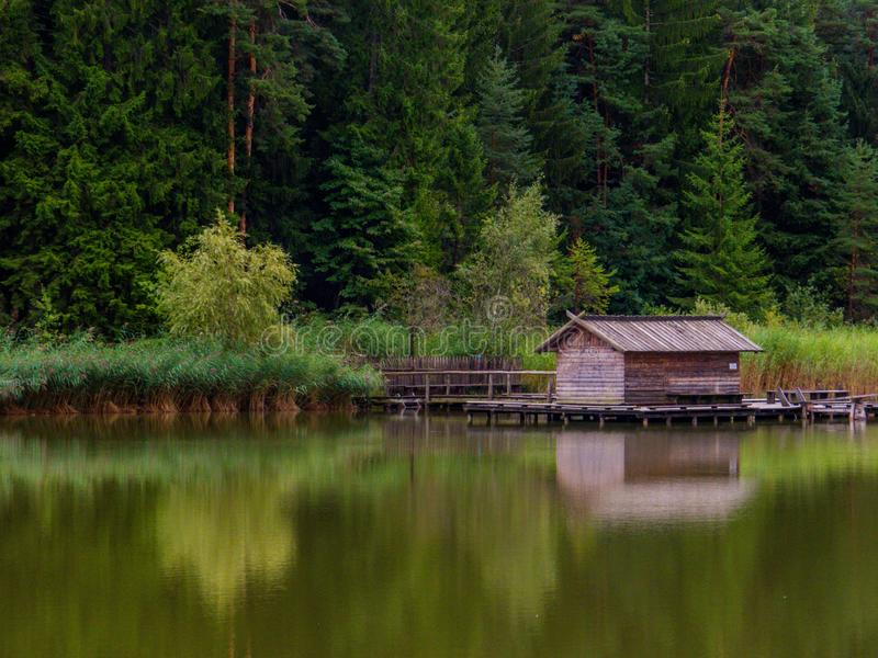 Small Lake of Fie at the Sciliar, Dolomites, north Italy stock photography