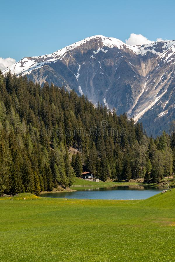 View of a small lake, an old wooden hut, green meadows in front of high mountains royalty free stock photo