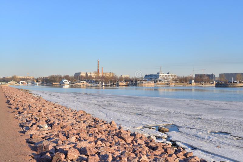 View of the small Nevka river and Petrovsky island. In Saint Petersburg, Russia royalty free stock photography