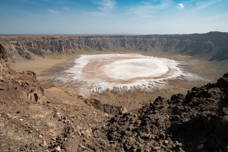 View on the small salt lake in the crater of Al-Wahbah in Makkah Province, Saudi Arabia royalty free stock photo