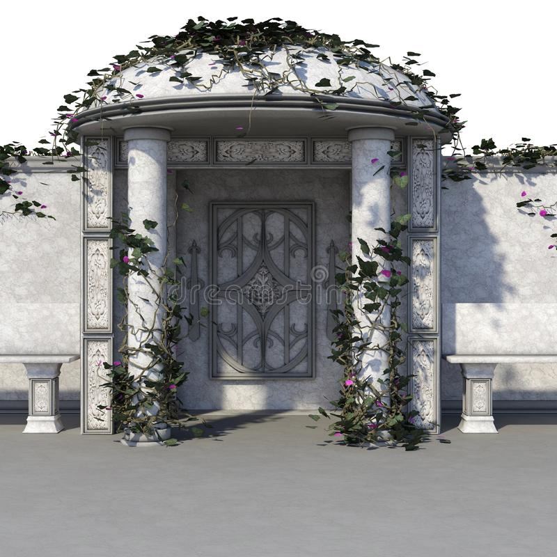 View of a small stone altar for ceremonies. With an arch covered with plants vector illustration