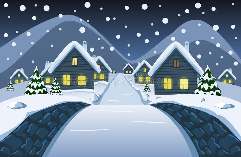 The view from the small stone bridge at the night snowy village stock illustration