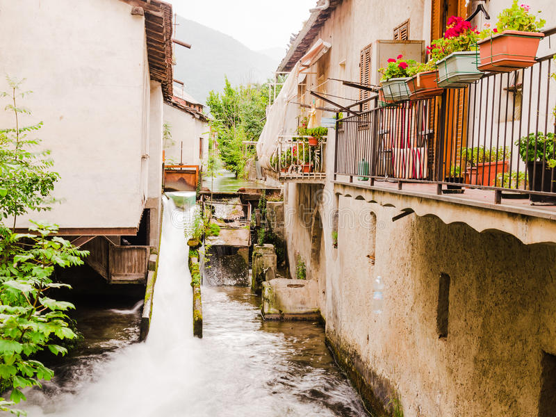 View of a small village on the italian alps stock photo