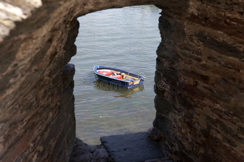 View of a small wooden row boat royalty free stock image