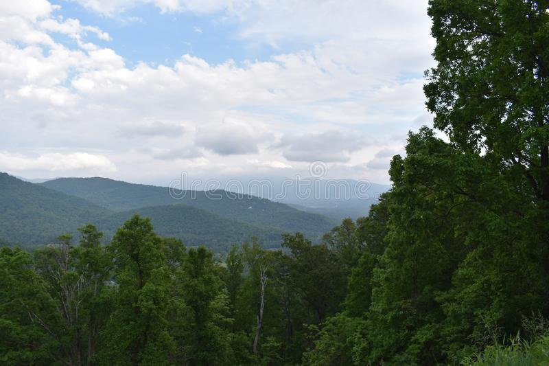 View of the Smokies from the Blue Ridge Parkway royalty free stock images