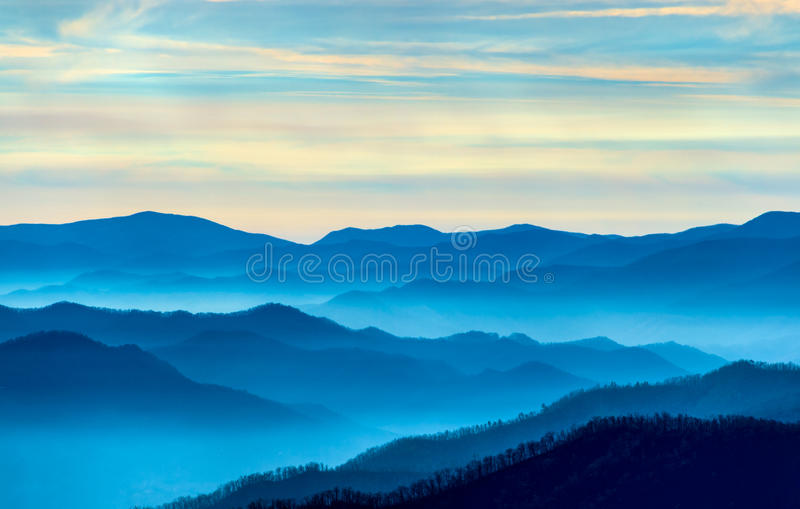 Morning in The Smokies. View of the Smoky Mountains from Route 441 Newfound Gap