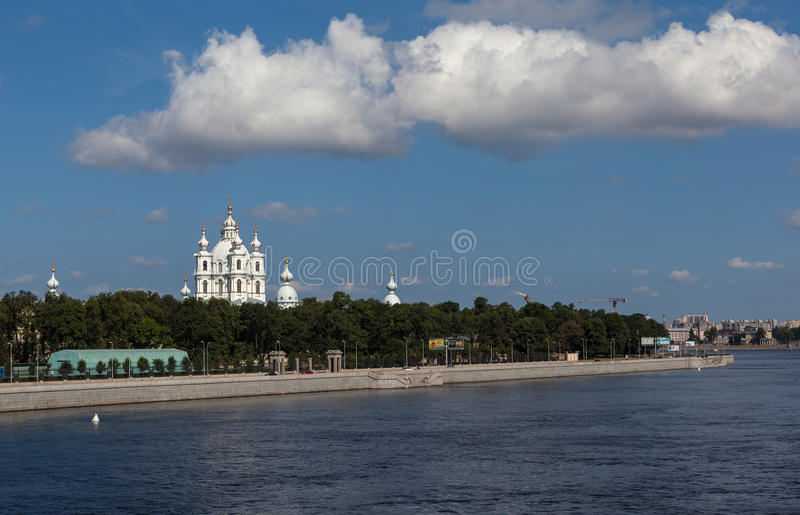 View of the Smolny Cathedral and the Neva River. St. Petersburg. Russia. stock image