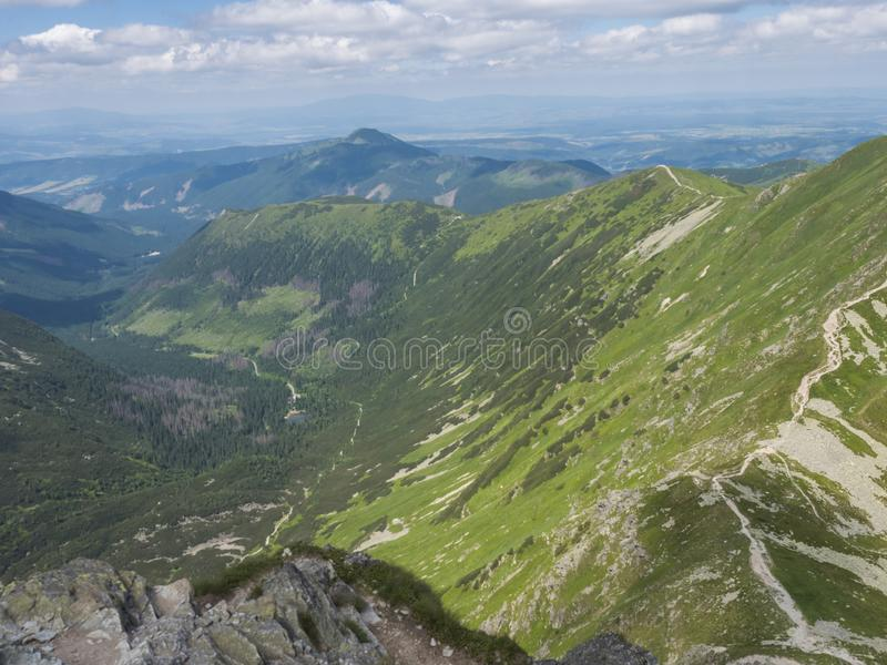 View from the Smutne sedlo saddle on Smutna dolina valley with Beautiful blue mountain lake Tatialkovo jezero with green stock photography