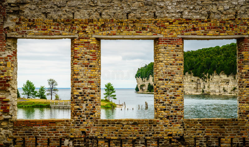 Fayette State Park in Michigan. View of Snail Shell Harbor from Fayette Historic Townsite in Michigan stock photos